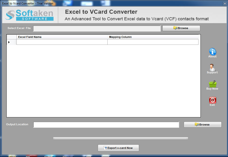 Softaken Excel to VCard Converter full screenshot