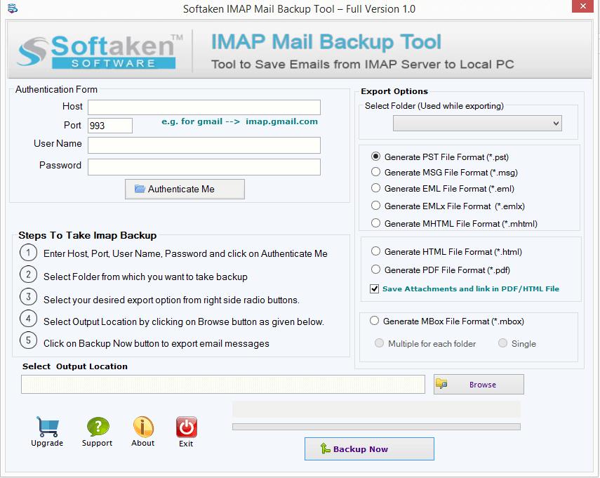 Softaken IMAP Mail Backup Tool full screenshot