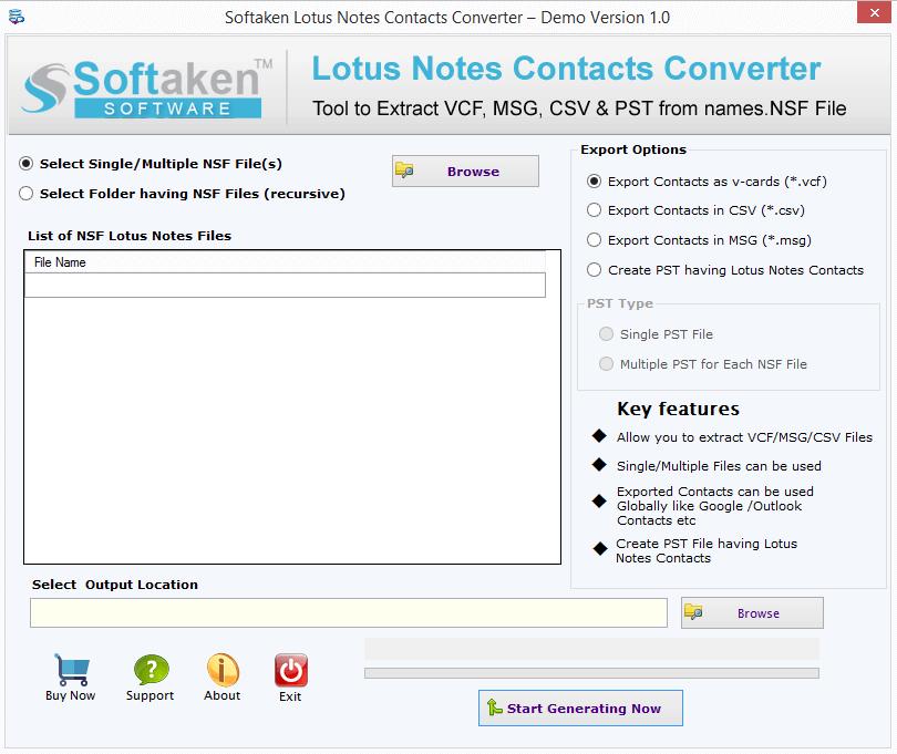 Softaken Lotus Notes Contacts Converter 1.0 full