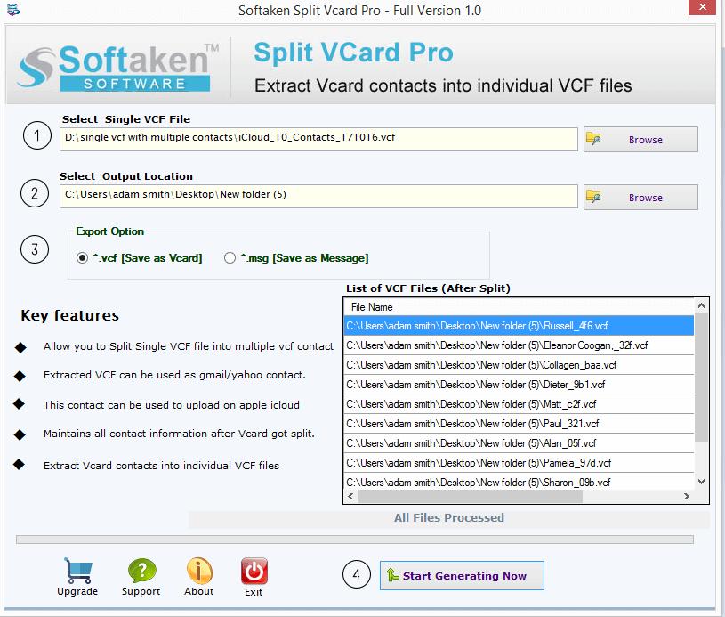 Windows 8 Softaken Split vCard full