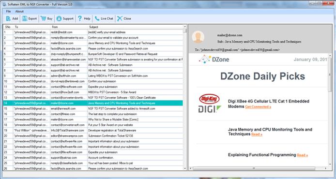 Softaken EML to NSF Converter full screenshot
