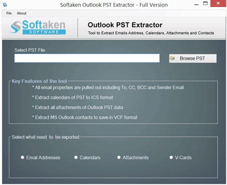 Windows 7 Softaken Outlook PST Extractor 1.0 full